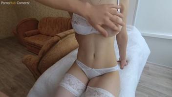 Русский  анальный секс с грудастой брюнеткой в чулках
