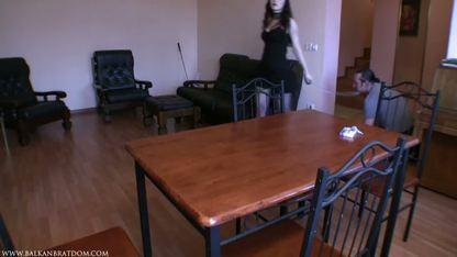 Девка в чулках раздвинула ноги на столе и насладилась кунилингусом